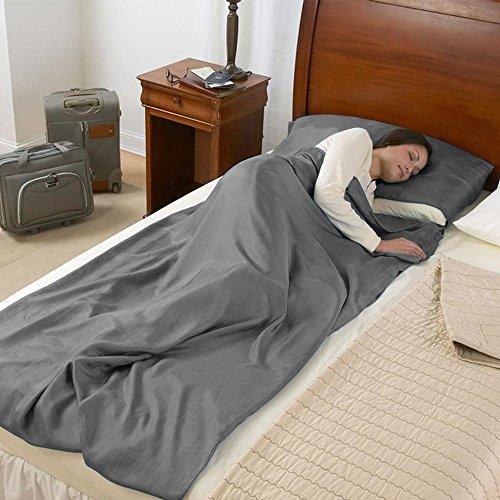 NATUREFUN Sleeping Bag Liner con Funda de Almohada incorporada, Antimicrobial Soft Cotton Travel y Hoja de Camping, con Bolsa de Transporte, para Viajes, ...
