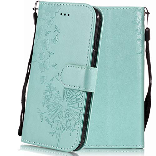 Waller Case for iPhone XR, EC-Touch iPhone XR Flip Wallet Leather Case, [Kickstand] Emboss Flower Magnetic Protective Cover with Card Slots for iPhone XR 6.1inch (Dandelion Green)