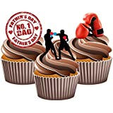 Fathers Day Boxing Cake Decorations - Edible Stand-up Cup Cake Toppers by AKGifts