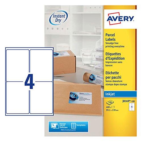 Avery J8169-100UK Pack de 100 feuilles /étiquettes adresses jet dencre Blanc