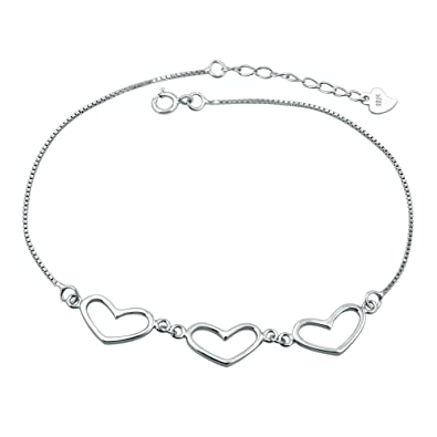 Uniqueen Heart with Heart Ankle Bracelets 925 Sterling Silver Sexy Lucky Love Anklet Chain Beach Girl wKPFEd5oR