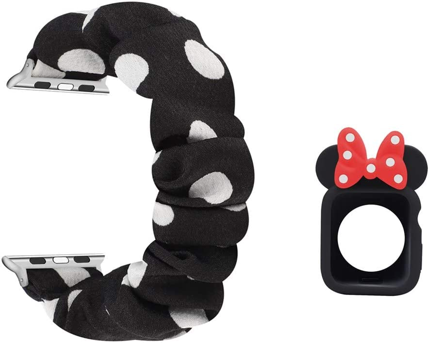 Polka Dot Scrunchie Band and TPU Case Compatible with 40mm Apple Watch, Stretchy Fabric Wristband Bracelet Strap Bowknot Bumper Cover Compatible with Apple Watch 40mm SE/Series 6/5/4, Black/White