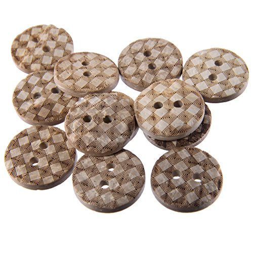 (Real Coconut Button - 2 Holes - Laser Etching - Checker Board Pattern - 24Line - White)
