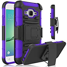 Core Prime Case, Galaxy Core Prime Holster Case, HengTech (TM) Shockproof Hybrid Armor Defender Case Shell with Kickstand & Belt Swivel Clip for Samsung Galaxy Core Prime (G360)/ Prevail LTE (Purple)