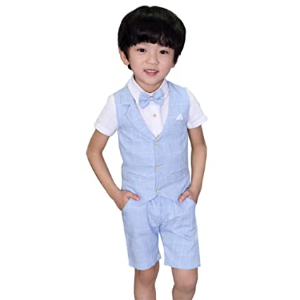 4 pcs Toddler Boys Suits Summer Wedding Cotton/Linen Blend Kids Vest Short Set