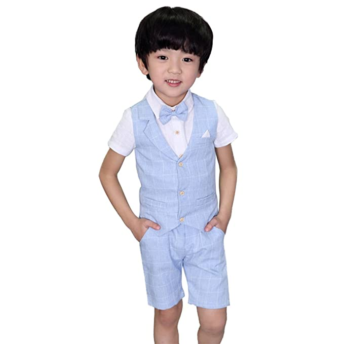 f2b956c34 DREAMOWL 4 pcs Toddler Boy Summer Wedding Cotton/Linen Blend Kids Vest Short  Set (