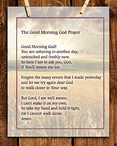 Good Morning GOD PRAYER- 8 x 10 Print Wall Art Scripture Wall Art- Ready to Frame. Home Décor, Office Décor- Christian Gifts. Inspiring & Encouraging Verse for All.