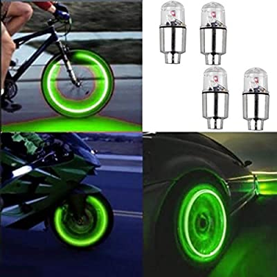 4pcs Led Flash Wheel Tyre Tire Valve Caps Light for Car Bike Bicycle Motorbicycle, Green