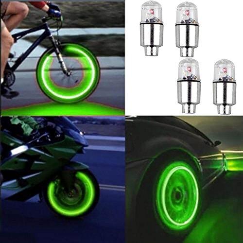 AV SUPPLY 4pcs Led Flash Wheel Tyre Tire Valve Caps Light for Car Bike Bicycle Motorbicycle, Green