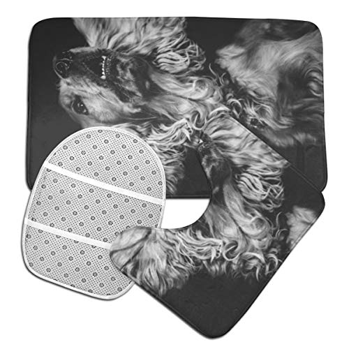 GHWSgGN English Cocker Spaniel Dog Bathroom Rug Mats Set 3 Piece Fashion Anti-Skid Pads Bath Mat + Contour + Toilet Lid Cover 7