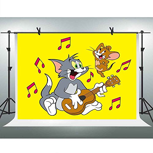FHZON 7x5ft Tom and Jerry Backgrounds for Photography Music Instrument Play the Guitar Yellow Backdrop Wallpaper Decoration Birthday Party Video Props PFH456