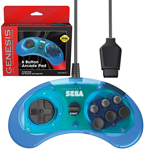 Retro-Bit Official Sega Genesis Controller 6-Button Arcade Pad for Sega Genesis - Original Port  - Clear Blue (Sega Genesis Games)