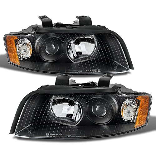 ACANII - For 2002-2005 Audi A4 S4 B6 Quattro Projector Black Replacement Headlight Headlamps - Passenger + Driver - A4 Headlight Assembly Audi