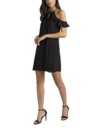 Lipsy Womens Ruffle Cold Shoulder Loose Dress Above The Knee V Neck Regular Fit at Amazon Womens Clothing store: