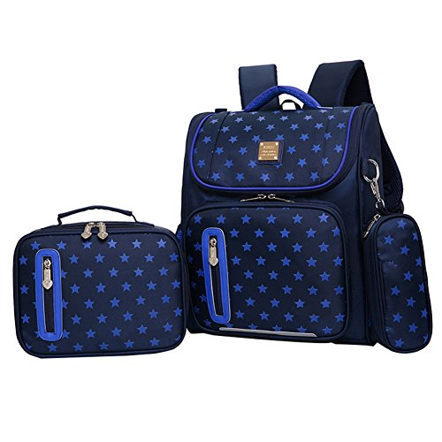 Kids Backpacks for School Bags for Boys Girls Bookbags and Pencil Lunch Box HHui (Dark Blue)