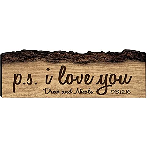 Personalized Established Names With Dates Family Gift Custom Sign Engraved with New Home House Warming Gift P.S. I Love You By Dayspring Milestones (P.S. I Love (New House Plaque)