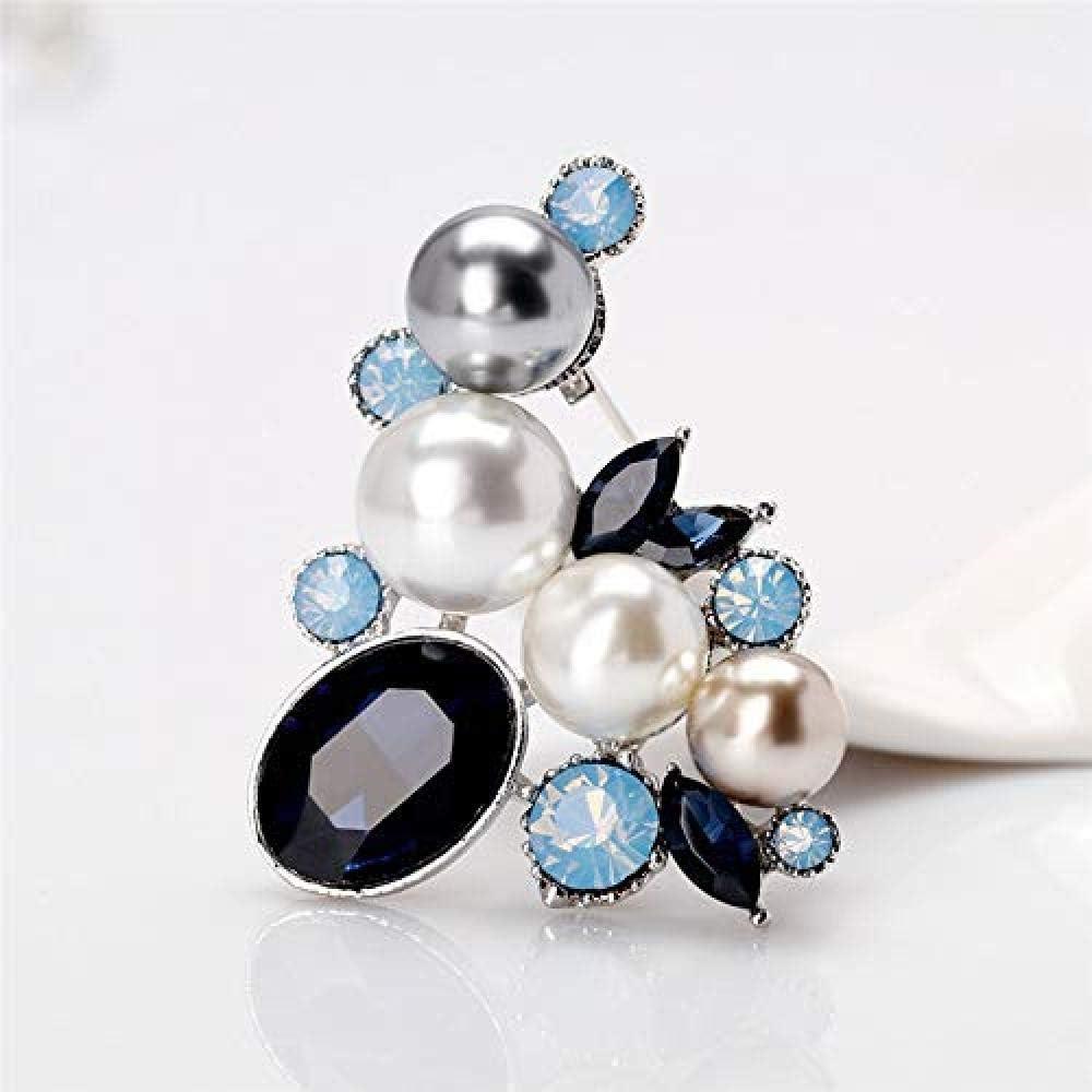 Silk Scarf Buckle Coat Western Ornament Badge Christmas New Year Gift Pearl Flower Pin Brooch Crystal