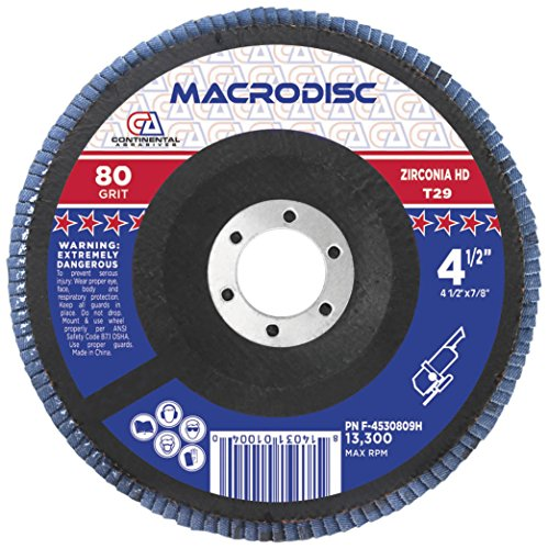 Continental Abrasives F-4530809H 4 1/2-Inch by 7/8-Inch High Density/Jumbo Type 29 Flap Discs ()