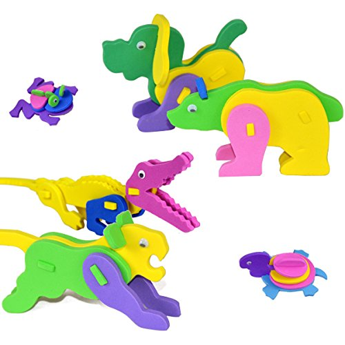 3D Puzzle Foam Craft Kits Animals Party Favor for Kids Birthday 24 Pack (Animal) -