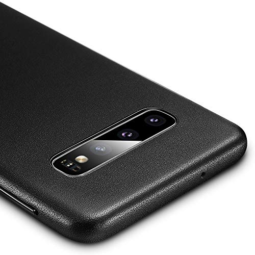 ESR Premium Real Leather Case for The Samsung Galaxy S10 Plus, Slim Protective Cover [Supports Wireless Charging] for The Samsung Galaxy S10 Plus (2019) - Black