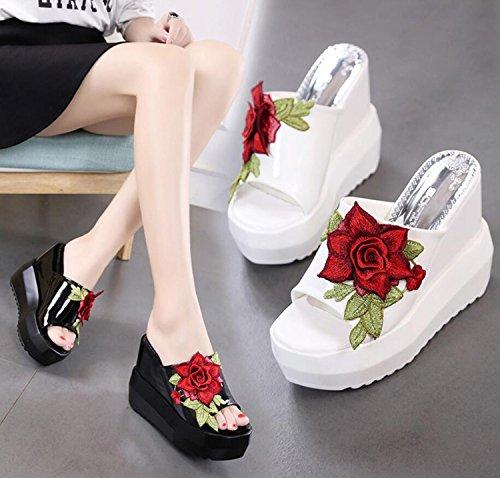 Comfort Primavera Heel PU Zapatos DANDANJIE Ladies Mujer Zapatos Zapatillas para Casual caseros Wedge Abierta Punta y Negro Chanclas Negro Blanco de wPt4qwdX