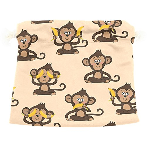 (Cute Drawstring Bag, Monkey Banana Print Drawstring Sack with Double Drawstring Gift Bag Jewelry Candy Pouch for Wedding Party DIY Crafts Presents, Brown)