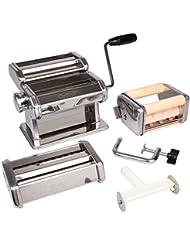 Pasta Maker Deluxe Set- Machine w Attachments for 5 Authentic Pastas- Spaghetti, Fettucini, Angel Hair, Ravioli, Lasagnette All in One