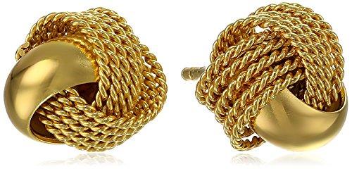Silver Mesh Love Knot Stud Earrings (Mesh Yellow Earrings)