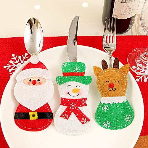 Fossrn Navidad Decoracion Cubiertos Papa Noel, Renos, Muñeco de Nieve para Decoración Navidad Cena Mesa: Amazon.es: Ropa y accesorios