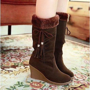 RTRY Zapatos De Mujer De Cuero De Nubuck Moda Otoño Invierno Botas Botas Botas De Tacón Cuña Mid-Calf Casual De Café Negro Amarillo Beige US6 / EU36 / UK4 / CN36