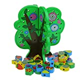JPOQW Beads Stringing Toys for Toddlers Wood Fruit Tree Play Toy for Above 3 Years Old Kids Girls Boys (Multicolor)