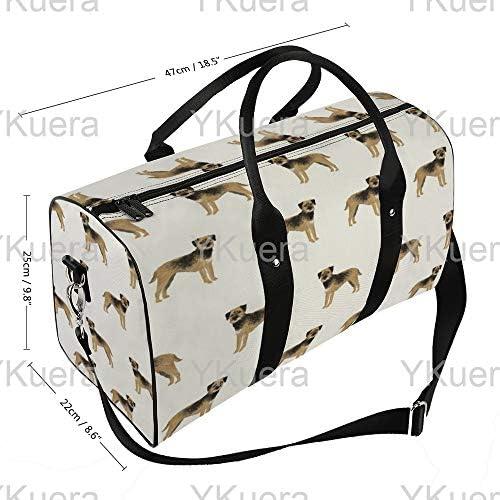 ボーダーテリア立ち2 旅行バッグナイロンハンドバッグ大容量軽量多機能荷物ポーチフィットネスバッグユニセックス旅行ビジネス通勤旅行スーツケースポーチ収納バッグ