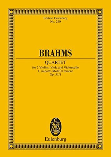 STRING QUARTET OP.51/1 C MINOR STUDY SCORE (Edition Eulenburg)