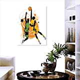 "Sports Decor Canvas Wall Art for Bedroom Home Decorations Image of Two Basketball Players in A Heated Game Rings Stars in The Background Print Art Stickers 20""x28"" Orange Green"