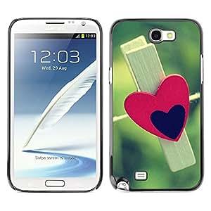 Paccase / SLIM PC / Aliminium Casa Carcasa Funda Case Cover - Red and black heart - Samsung Note 2 N7100