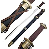 "Ace Martial Arts Supply 33"" Medieval Steel Viking Worrior Spatha Battle Sword & Scab and Helmet"