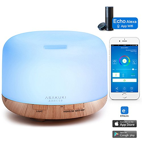 ASAKUKI Astute Wi-Fi Essential Oil Diffuser, App Control Works with Alexa, 500mL Aromatherapy Humidifier for Air Purifying and Relaxing Atmosphere in Bedroom and Office, Better Sleeping and Breathing