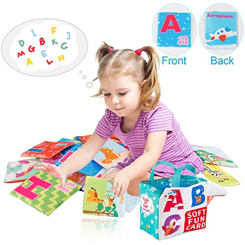 Mini Tudou 26 PCS Baby Soft Alphabet Cards, ABC Learning Flash Cards with Storage Bag, Washable Soft Letter Early Educational Toy for Babies Infants Toddlers Boys and Girls 0 1 2 3 Years Old