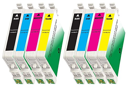 INKUTEN 8 Pack Remanufactured 60 /T060 / T0601-4 Ink Cartridges (2BK, 2C, 2M, 2Y) for C88+ C68 C88 CX3800 CX3810 CX4200 CX4800 CX5800 CX5800F CX7800 (Epson Stylus Cx4800 Printer)