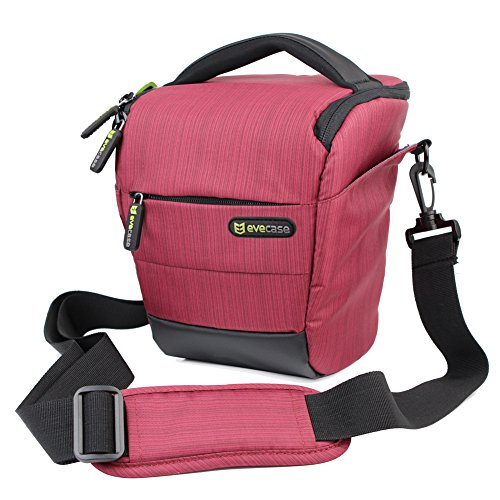 Evecase DSLR Camera Nylon Holster - Red for Canon EOS SL1 T7i T6 T6s T6i T5i T5 T4i (Canon T2i Card)