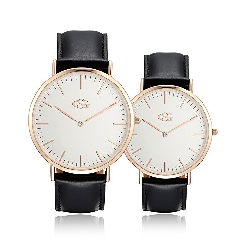 - GEORGE · SMITH Classic Couples Wrist Watches for Couple His and Hers Watch Set with Brown Genuine Leather Band 2 Pcs