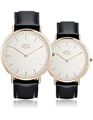 GEORGE · SMITH Classic Couples Wrist Watches for Couple His and Hers Watch Set with Brown Genuine Leather Band...