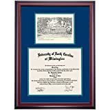UNC Wilmington Seahawks Diploma Frame Navy Green Matting Pen & Ink
