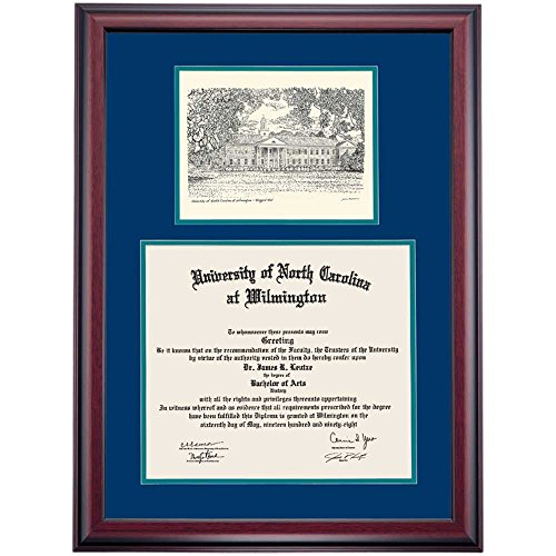 UNC Wilmington Seahawks Diploma Frame Navy Green Matting Pen & Ink by Campus Linens