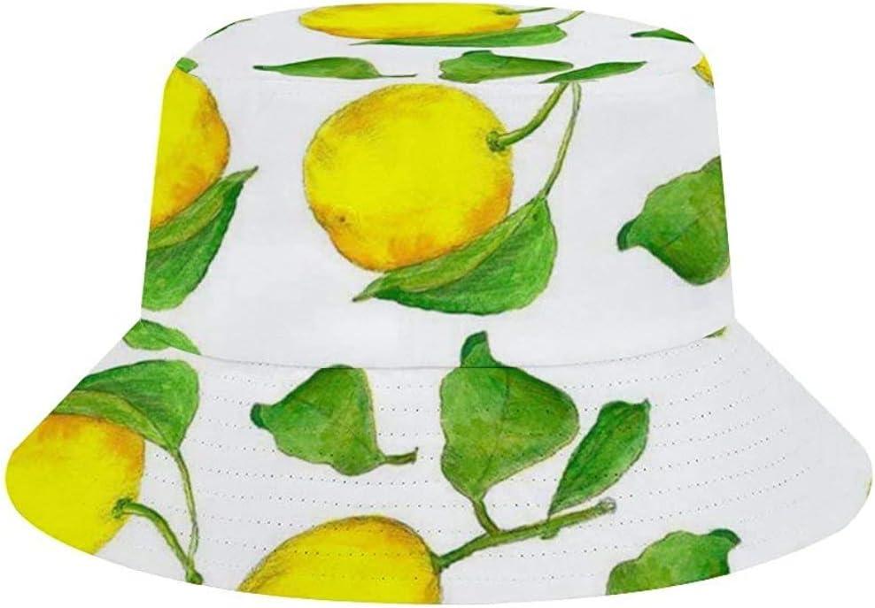 NA Unisex Sommerhut aus gewaschener Baumwolle Zitronengelb