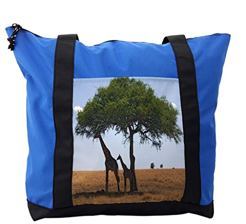Lunarable Safari Shoulder Bag, Tree Mom Giraffe and Baby, Durable with Zipper by Lunarable
