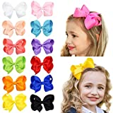 HLIN 12 Pcs 4.5 inch Grosgrain Ribbon Boutique Hair Bows Alligator Clips Hand Made for Baby Girls Toddlers Kids