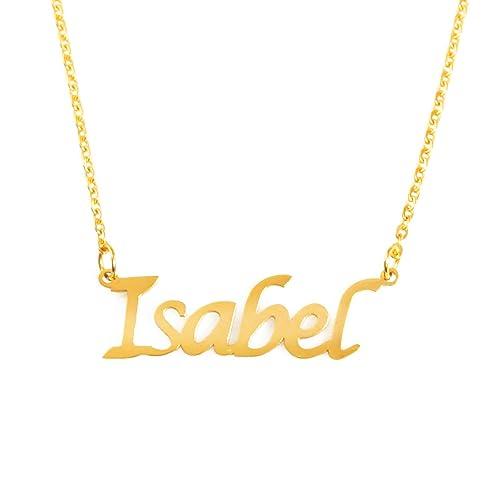 Kigu Isabel Collar con Nombre - Chapado en Oro Personalizado de 18 ...