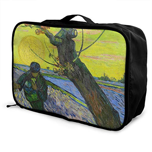 The Sower With Setting Sun Van Gogh Travel Lightweight Waterproof Foldable Storage Carry Luggage Large Capacity Portable Luggage Bag Duffel Bag (The Sower With Setting Sun Van Gogh)