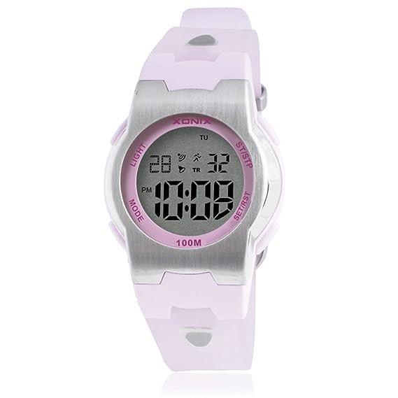 Niños reloj multifunción impermeable reloj digital chica luminosa boy-D: Amazon.es: Relojes